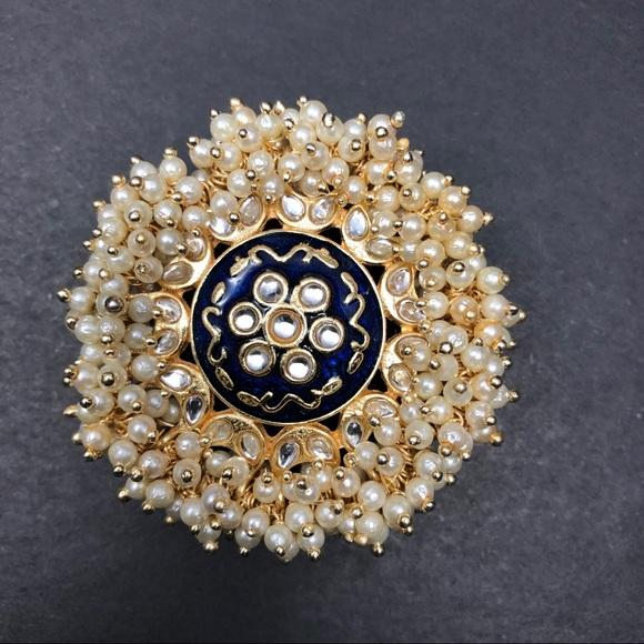 Jewelry - Gold plated Oversized kndan meenakari ring